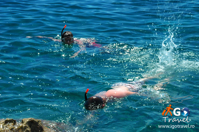 kids snorkeling in the Adriatic sea